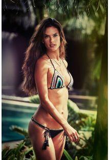Bikini brésilien noir, haut triangle crochet - EARTHY CROCHET