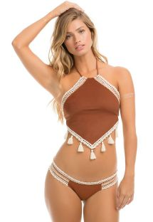 Suede effect Brazilian swimsuit - SUEDE POMPOM