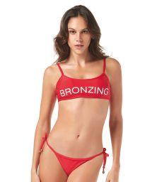 Red bandeau bikini with inscription - BRONZING