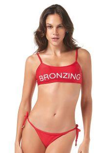 Bikini rojo de top bandeau con inscripción - BRONZING