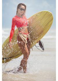 Long sleeve coral crop top bikini - CROPPED LADIES FIRST