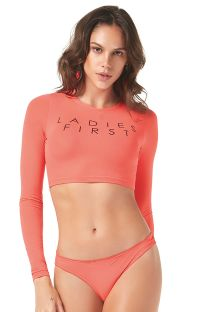 Long sleeve coral crop top bikini - CROPPED LADIES FIRST
