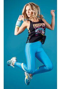 Czarny top z napisami, niebieskie legginsy fitness - SKIN FIT FREEDON