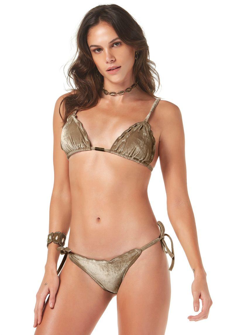 Dark beige / gold velvet scrunch bikini - VELUDO
