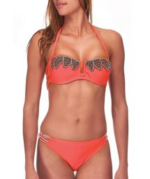 Coral red beaded two-piece by Amenapih - ABBYSWIM CORAL
