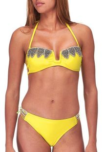 Yellow beaded swimsuit by Amenapih - ABBYSWIM YELLOW