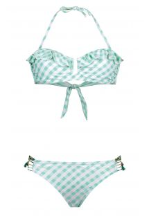 Bikini palabra de honor retro estampado Vichy verde - BB SWIM GREEN