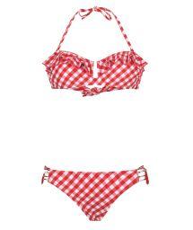 Bandeau bikini Vichy red printed - BB SWIM RED