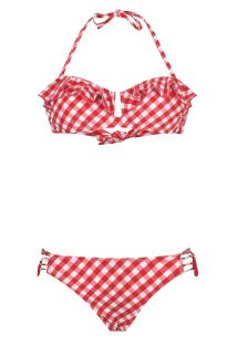 Bikini palabra de honor retro estampado Vichy rojo - BB SWIM RED