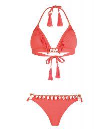 Fluorescent red triangle bikini with shells - CORYSWIM NEON RED