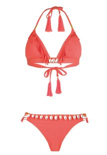 Fluorescent red triangle bikini with shells - CORYSWIM NEON RED