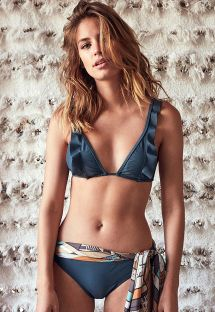 Blue triangle bikini with frills and 100% silk scarf - MANUELA BLUE
