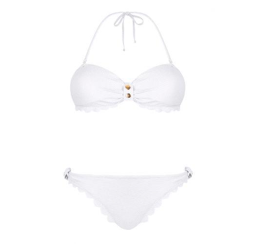 Hvit bandeau-bikini med teksturert stoff - MIRABELLE WHITE