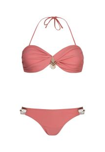 Bandeau bikini in pink with woven pearls/ribbons - MYSWIM BLUSH