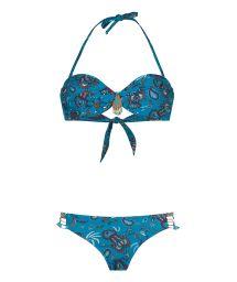 Blue braided bandeau bikini with Brazilian ribbons - NOMADSWIM BLUE