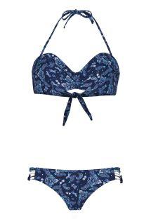 Marineblå bandeau bikini med bandanamønster - PAISLEYSWIM NAVY