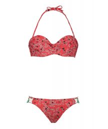 Red printed bandeau bikini - PAISLEYSWIM RED