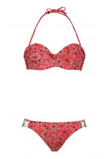 Red printed bandeau bikini - PAISLEYSWIM RED