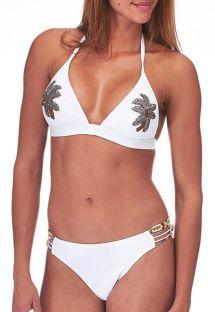 Maillot de bain Amenapih blanc avec palmier perlé - SUNSWIM WHITE