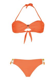 Orange bandeau bikini med brasilianske smalle bånd - UNISWIM ORANGE