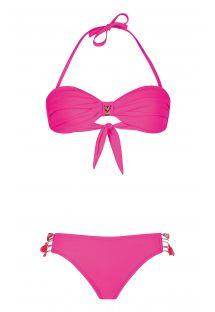 Tvunnet bandeau-bikini, rosa med brasilianske bånd - UNISWIM PINK