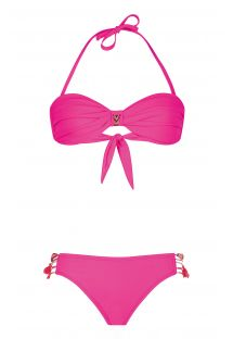 Bikini bandeau twisté rose, rubans brésiliens - UNISWIM PINK