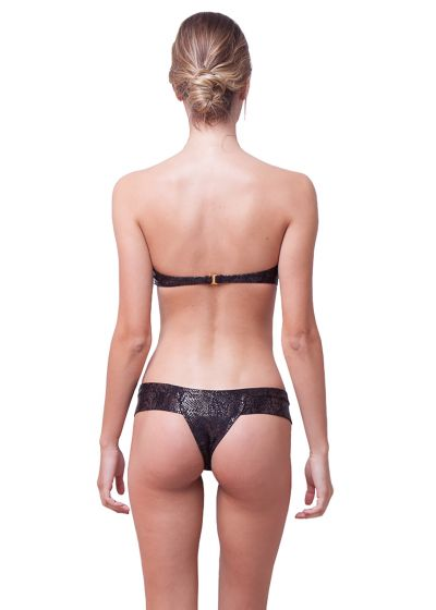 Black textured bandeau bikini - snake skin - TEXTURED SNAKE BLACK