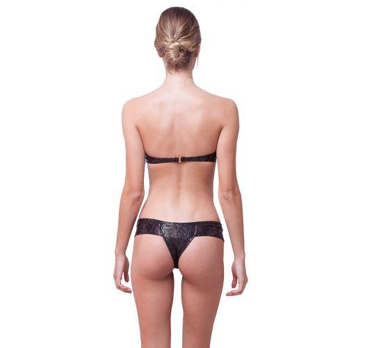 Luxus-Bandeau-Bikini mit Reptilienmuster - TEXTURED SNAKE BLACK