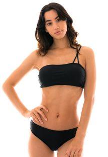 Bikini bandeau noir bretelles asymétriques - Black Hera