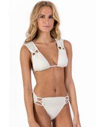 Triangel-Bikini in Ecru, geflochtene Details - ALONGADO ALOHA PALMS