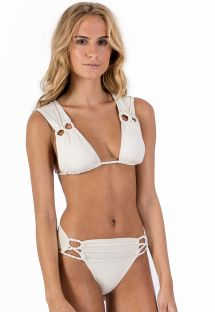 Ecru halter bikini with braided details - ALONGADO ALOHA PALMS