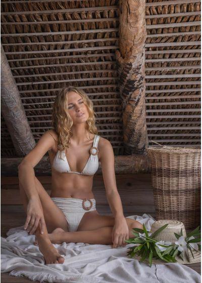 Linen draped halter bikini with leather details - ALONGADO LIGHT LINEN