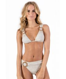 Linen draped halter bikini with leather details - ALONGADO LIGHT LINEN