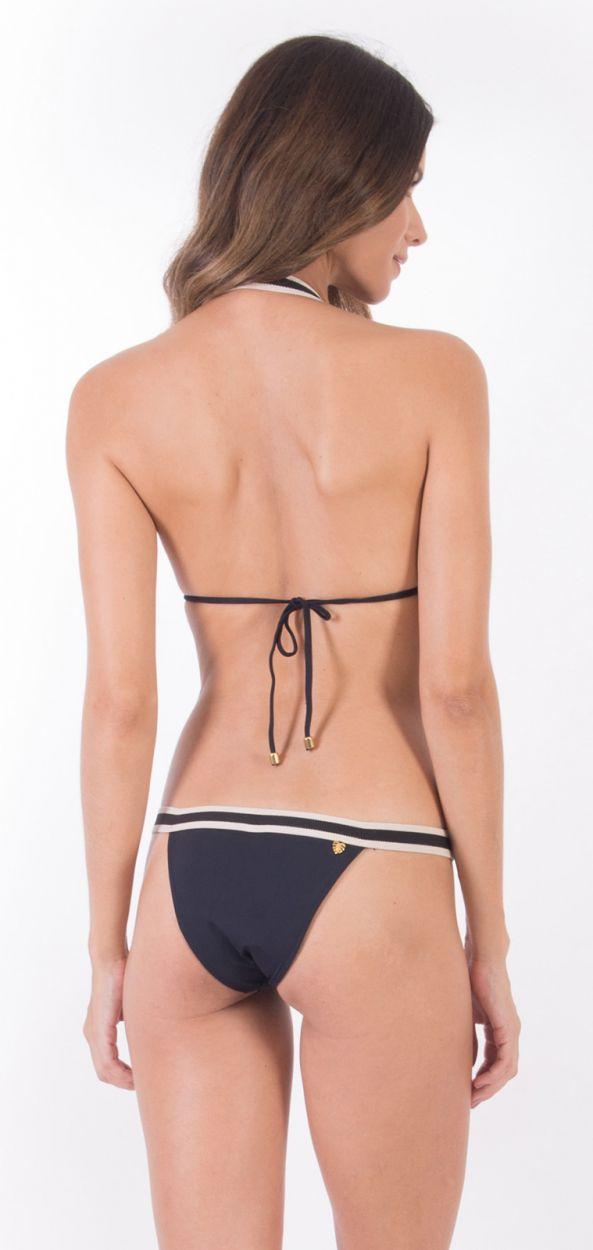 Black & white Brazilian bikini with leather detail - ALONGADO PRETO PANAMA