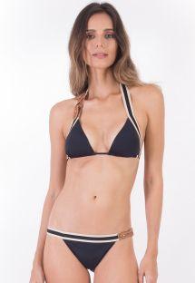 Triangel-Bikini in Foulard-Form, Lederdetails - ALONGADO PRETO PANAMA