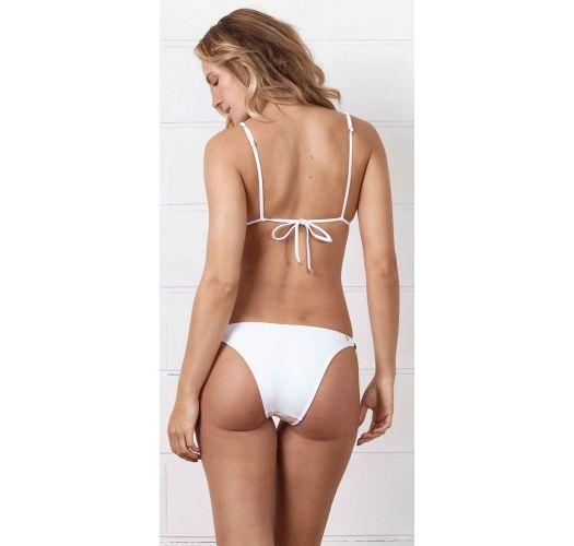White Brazilian bikini with leather details - CORTININHA LA SIRENUSE