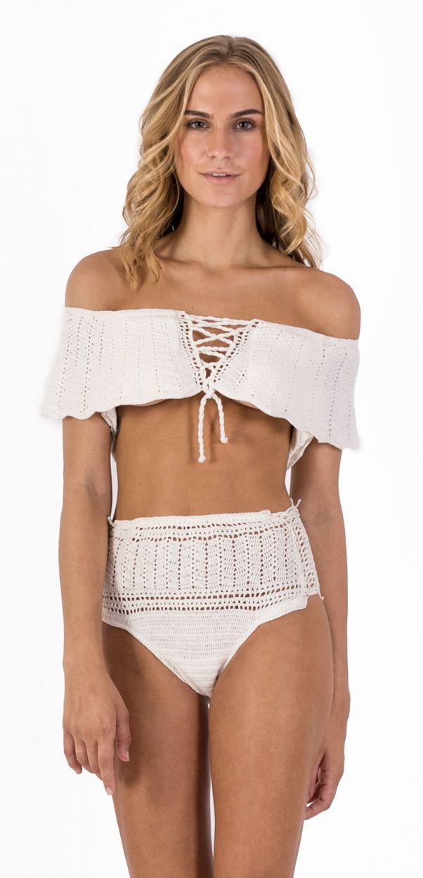 High-waisted bikini with ecru crochet bandeau top - OMBRO BOHO BEACH
