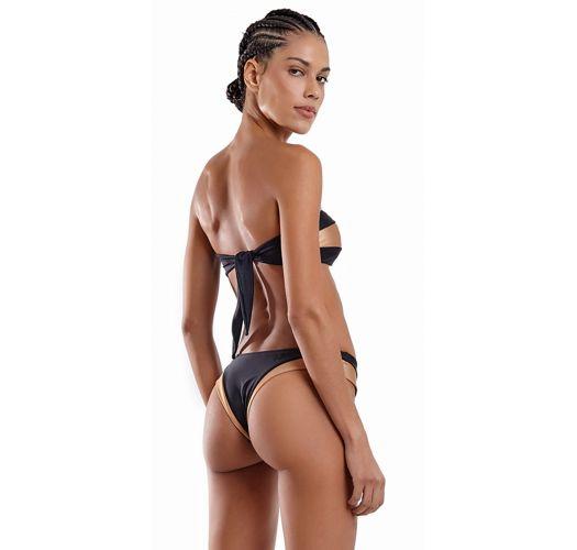 Two-tone black & copper bandeau bikini - FAIXA VAZADO LISO PRETO