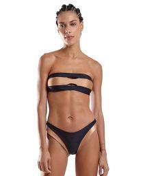 Zweifarbig schwarz/kupferfarbener Bandeau-Bikini - FAIXA VAZADO LISO PRETO