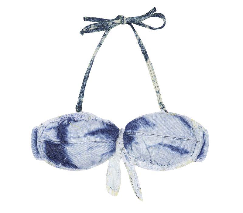 Faded denim bandeau bikini top - SOUTIEN BOMBOM JEANS