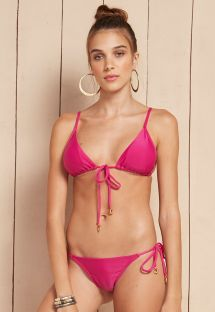 Pink triangle bikini with accessories and strappy back - AMARANTO