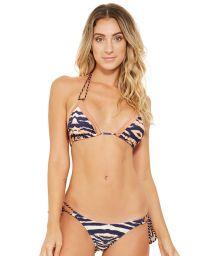 Zebra print triangle bikini with double laces - ANGEL ZEBRADO