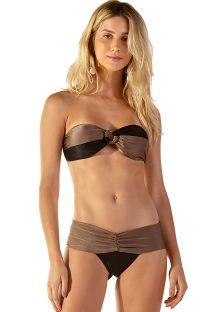 Taupe & black bandeau bikini - AUSTRALIA CARAMEL PRETO