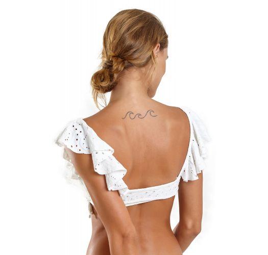 White lace ruffled bralette bikini - BABADO NOVO LAISE BRANCO