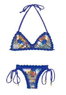 Bikini brassière contours crochet bleu - BARES ESTRELA