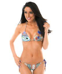 Printed side-tie Brazilian bikini - BARES TAHITY