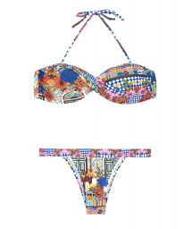 Brightly-coloured print twisted bandeau bikini - BARES UP