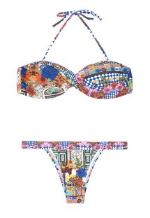 Brightly-coloured print twisted bandeau bikini - BARES UP