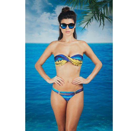 A blue and yellow bandeau bikini with accessorised bottoms - BEBEL LIGHT