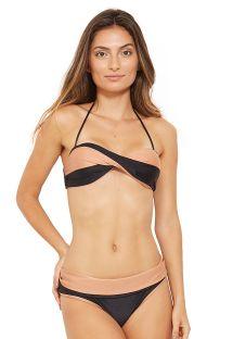 Reversibel svart og hudfarget bandeau bikini - BICOLOR PRETO